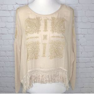 ASTR the Label Cream Embroidered Boho Chic Top Sm